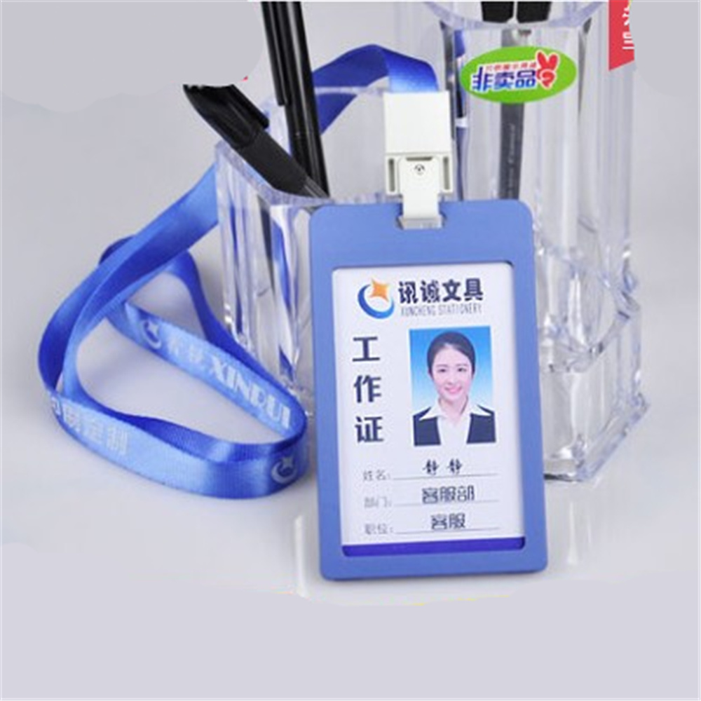 5Pcs Plastic Business Work Card ID Badge Lanyard Holder Hot Vertical