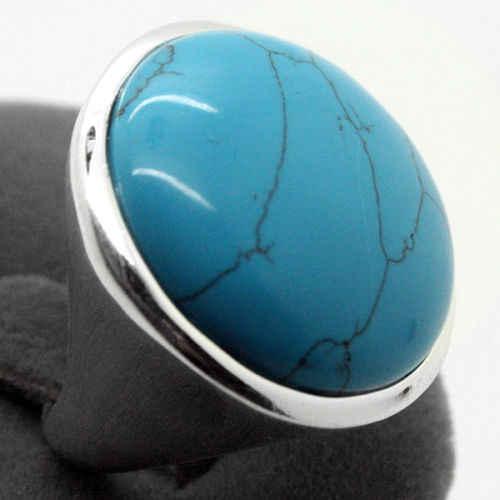 ที่ดีที่สุดของขวัญหายากสีฟ้า 24 มม. เทอร์ควอยซ์ธรรมชาติ 925 แหวนเงินขนาด 7/8/9/10