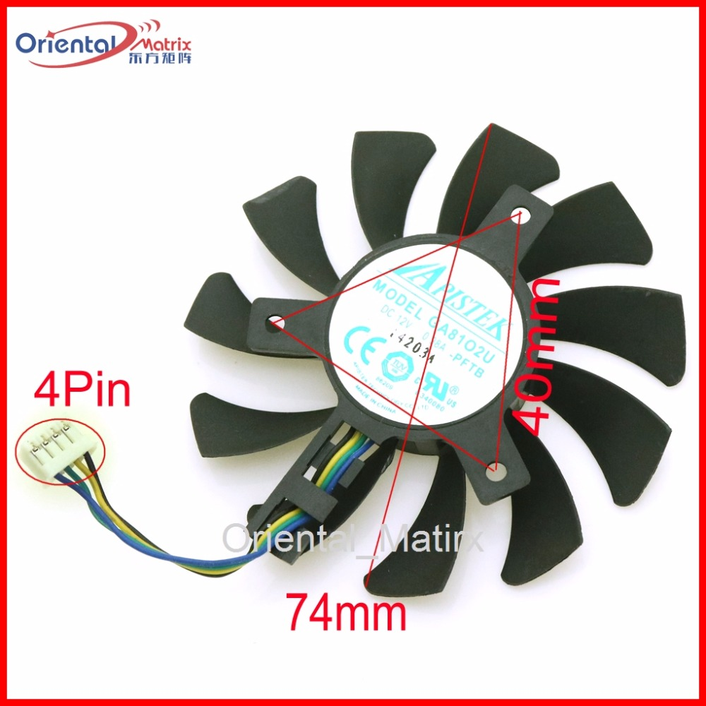 Free Shipping GA81O2U 12V 0.38A 4Pin VGA Fan For Dataland RX560 X-Serial R9 370X Graphics Card Cooler Cooling Fan free shipping 90mm fan 4 heatpipe vga cooler nvidia ati graphics card cooler cooling vga fan coolerboss