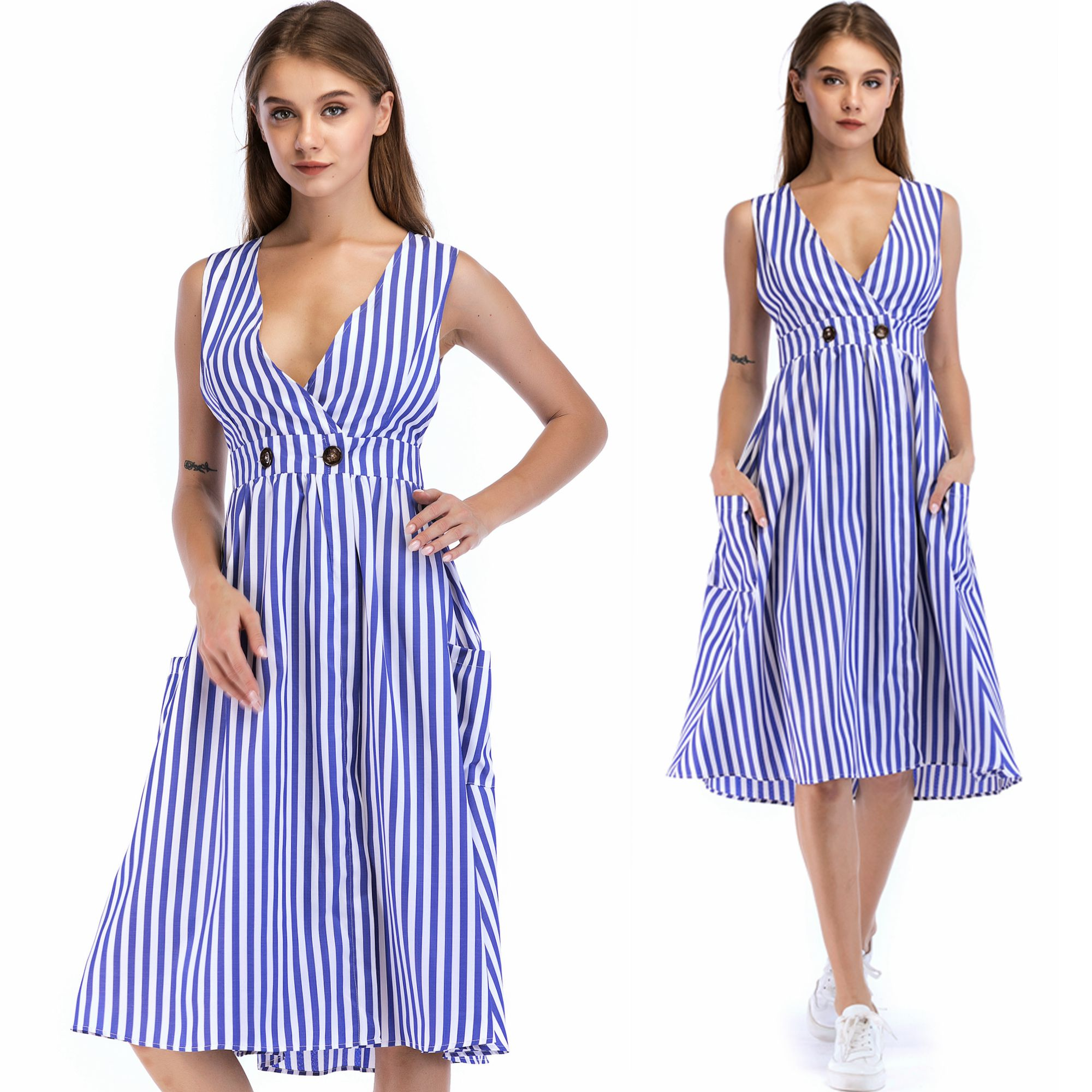 Casual Dress V Neck Sexy Women Cotton Straight Long Top Boho vestido Summer Style Beach Wear Preppy Desses