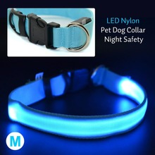 Hot LED Nylon Pet Dog Collar Night Safety Flashing Glow Electric Product For Dogs PetSupplies Collars for Small Dogs Cats