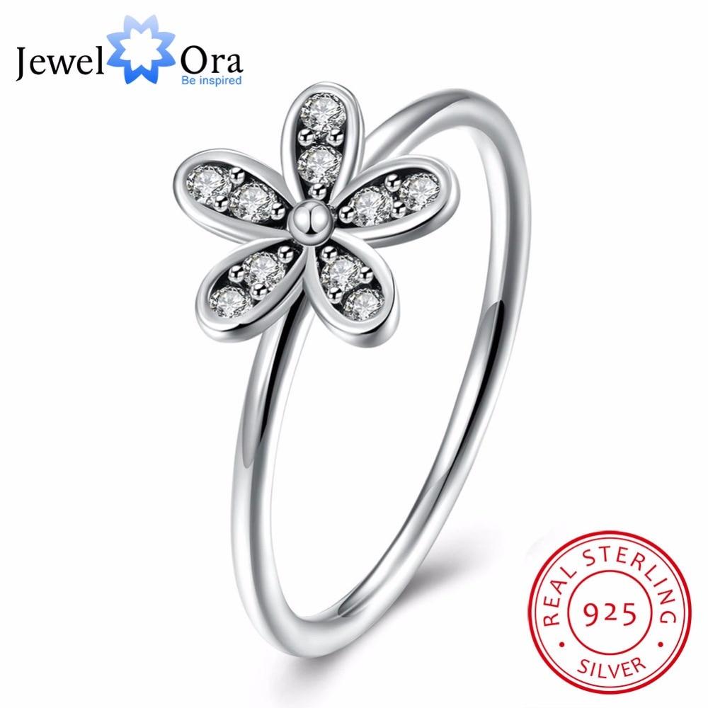925 Sterling Silver Cincin Bunga Bentuk OL Aksesoris Zirkon Fashion - Perhiasan fashion