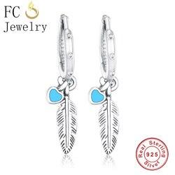 Fc jóias 925 prata esterlina bonito azul esmalte pena brincos para feminino menina moda brincos fazendo jóias 2018