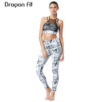 Dragon Fit Women Sport Yoga Set Crop Top Bra And Pant Tight Leggings 2 Pieces Sports
