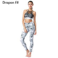 Dragon Fit Women Sport Yoga Set Crop Top Bra and Pant Tight Leggings 2 Pieces Sports Suit Wear Running