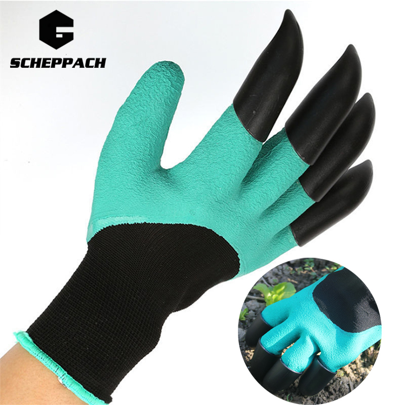 Scheppach Green Garden Digging Gloves with 4 ABS Plastic Claws for garden Digging Planting 1 pair Garden Digging Gloves Tools scheppach green garden digging gloves with 4 abs plastic claws for garden digging planting 1 pair garden digging gloves tools