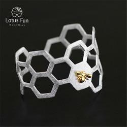 Lotus fun real 925 sterling silver designer handmade fine jewelry honeycomb home guard fashion statement bangle.jpg 250x250