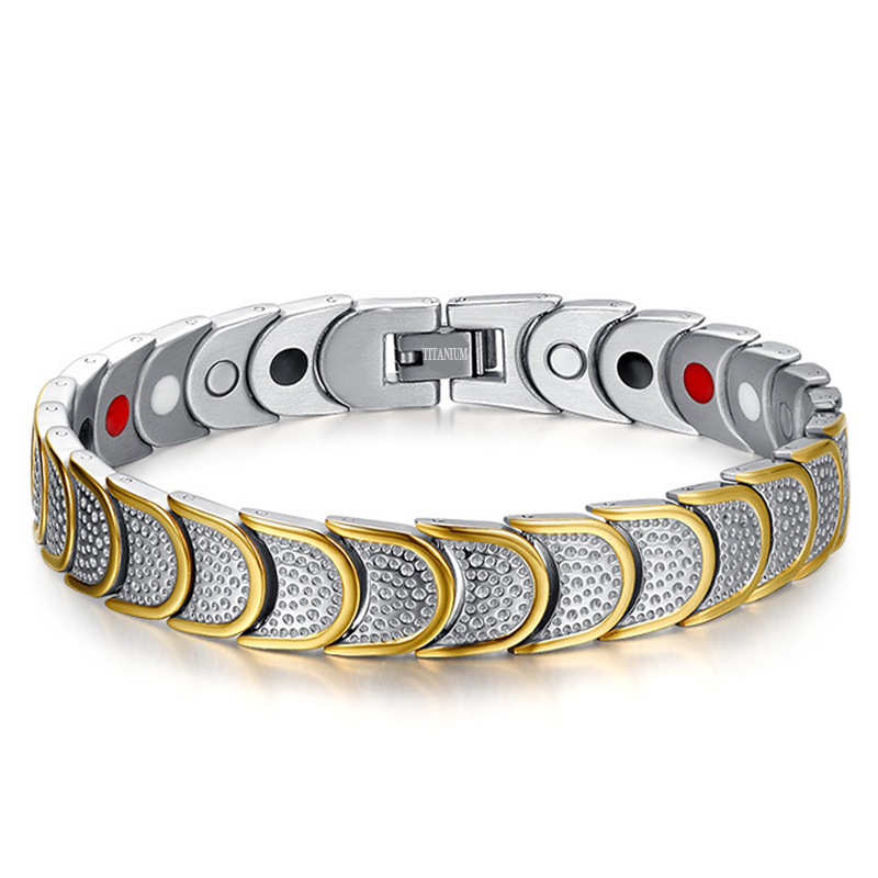 Mens 4 in 1 Healthy Sports Bracelet Pure Titanium Magnet FIR Negative Ion Germanium Bangles Gold Color Water Drop Design TI001B