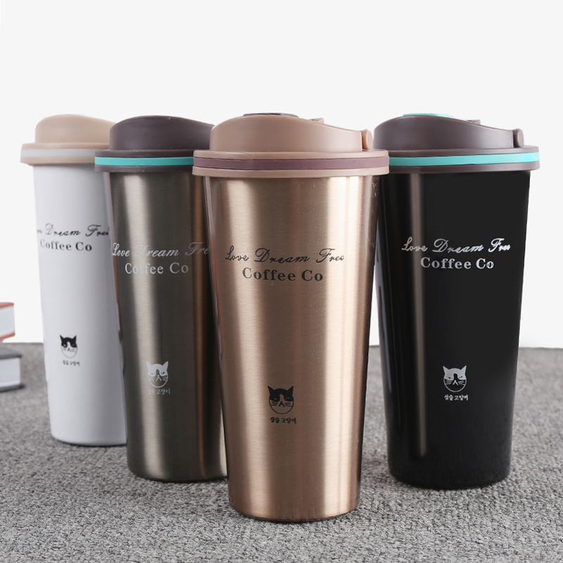 500ML Thermos Mug Coffee Cup with Lid Thermocup Seal Stainless Steel vacuum flasks Thermoses Thermo mug for Car My Water Bottle cup