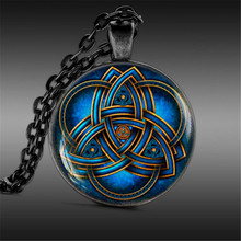Blue triquetra necklace, men Jewelry, Trinity Symbol for Best Friends Pendant