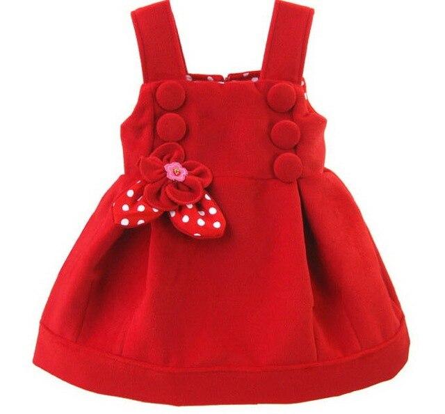 c3dcd51ef 2018 estilo de moda bebé niñas invierno Vestidos de Color rojo de algodón  Vestidos para 1