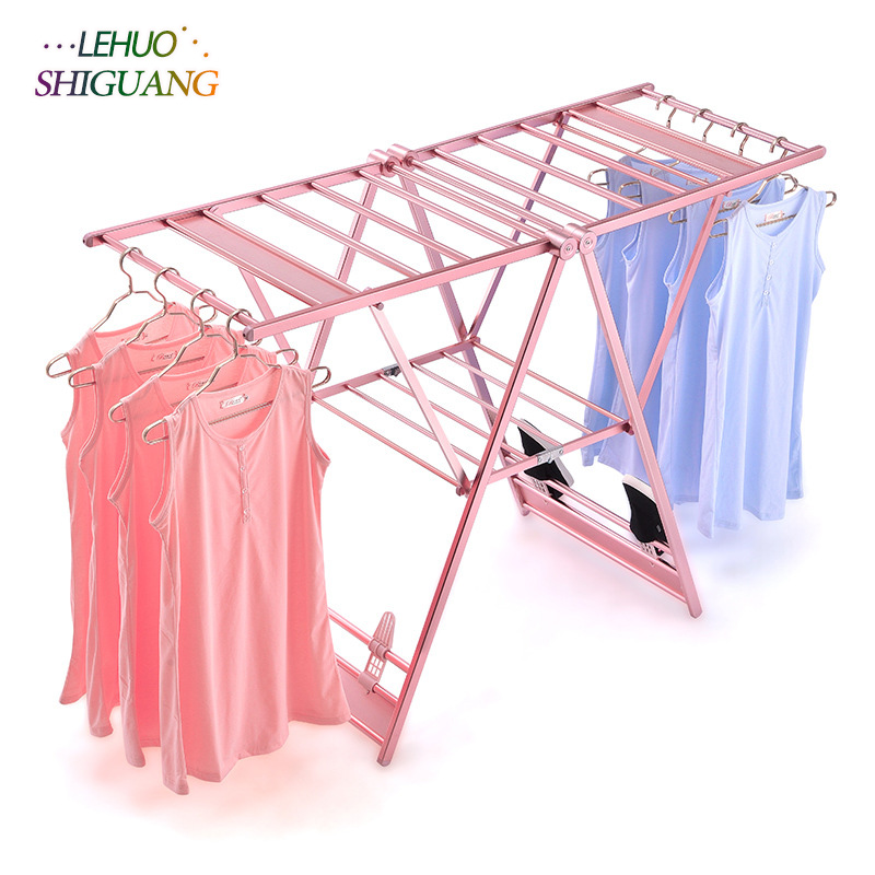 Stainless steel drying racks balcony Folding telescopic racks drying home living room bedroom hangers Coat rack Clothes rod