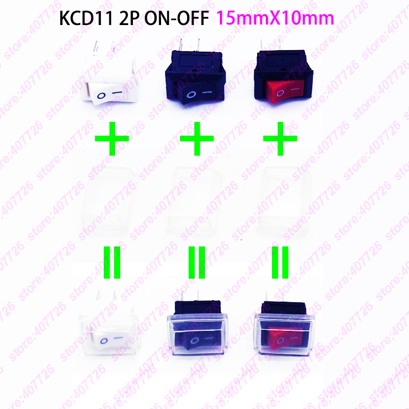 12PCS 10 X 15mm 2PIN SPST ON/OFF Boat Rocker Switch 6A/250V 10A/125V Seesaw Switch For Dash Dashboard Truck RV ATV Home 5pcs g124 green led light spst 3pin on off boat rocker switch 16a 250v 20a 125v car dash dashboard truck rv atv sell at loss