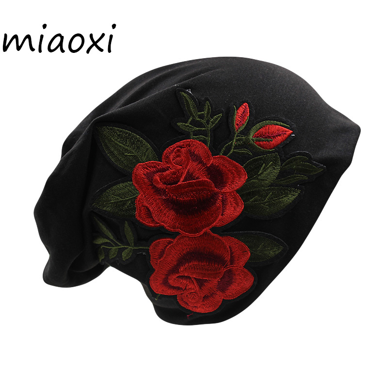 [miaoxi] High Quality Women Two Rose Hat Fashion Floral Cap Caps For Girl Adult Casual Bonnet Black 5 Colors Cotton Beanies Sale