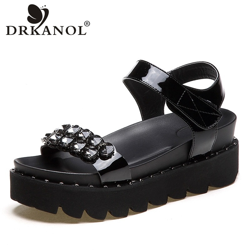 DRKANOL Summer Women Sandals Patent Leather Rhinestone Wedges Platform Sandals Open Toe Gladiator Sandals Woman Casual Shoes choudory bohemia women genuine leather summer sandals casual platform wedge shoes woman fringed gladiator sandal creepers wedges