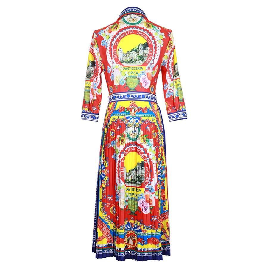 VERDEJULIAY Pista Pieghettato Vestito Lungo 2019 di Estate di Nuovo Modo di Alta Qualità 3/4 Del Manicotto di Stampa Reale Elegante Vestidos Vestito-in Abiti da Abbigliamento da donna su  Gruppo 2