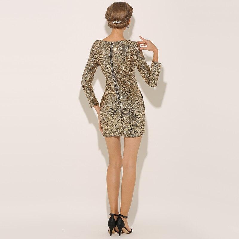 21d163f9d3 Parthea Long Sleeve Dress Gold Metallic Sequin Dress Women Winter Dress  Sexy Party Midi Bodycon Dresses Pencil Vestidos 2018 New-in Dresses from  Women s ...