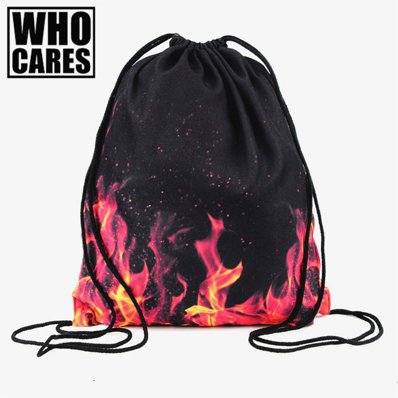 who cares flames red 3D print Backpack 2017 fashion Women travel softback school mochila drawstring bag men backpack sac a dos deanfun harajuku drawstring bag unisex backpack fashion escolar backpack 3d print travel softback man women mochila emoji s53