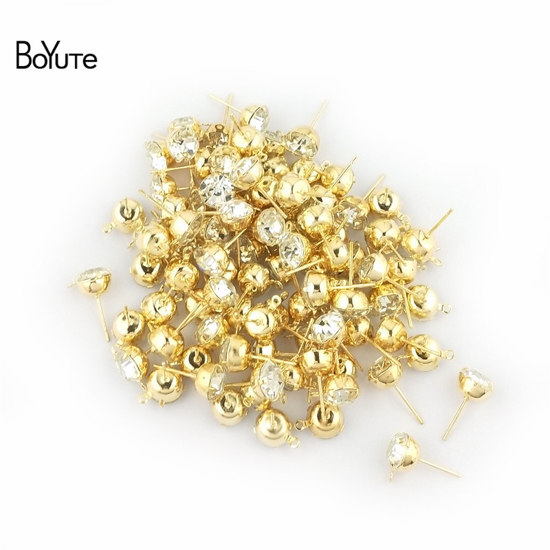 BoYuTe (20 PiecesBag) 4-5-6-8MM Crystal Stud Earrings Gold White K Plated Ear Pin with Loop Diy Hand Made Jewelry Accessories (4)