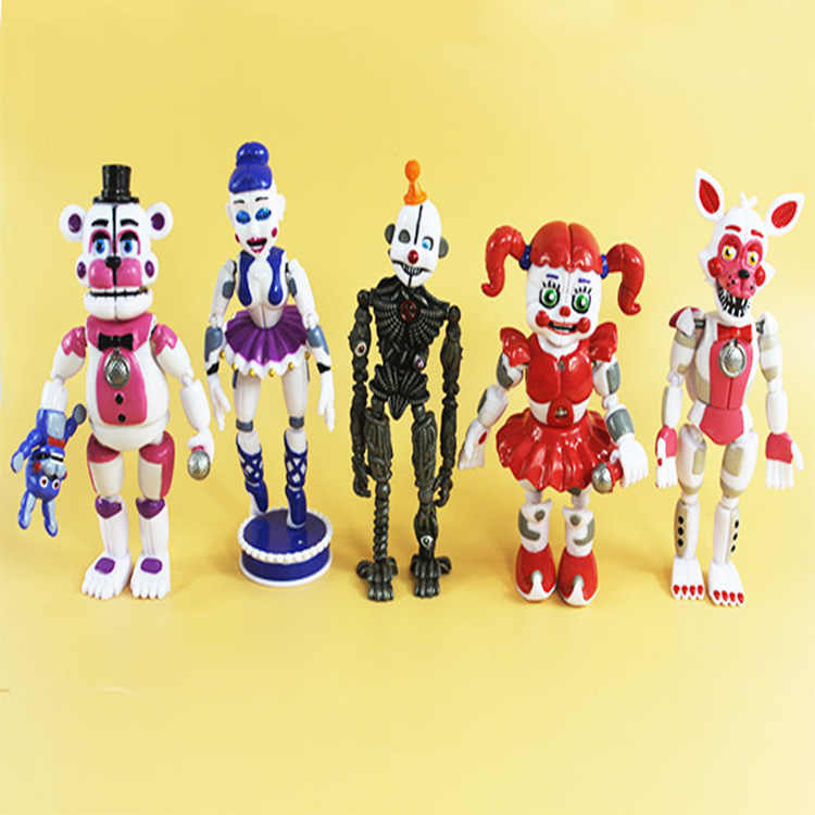 FNAF Five Nights At Freddy's figure toys Funtime Freddy Foxy Sister Location Freddy Ballora Circus  Movable Toys