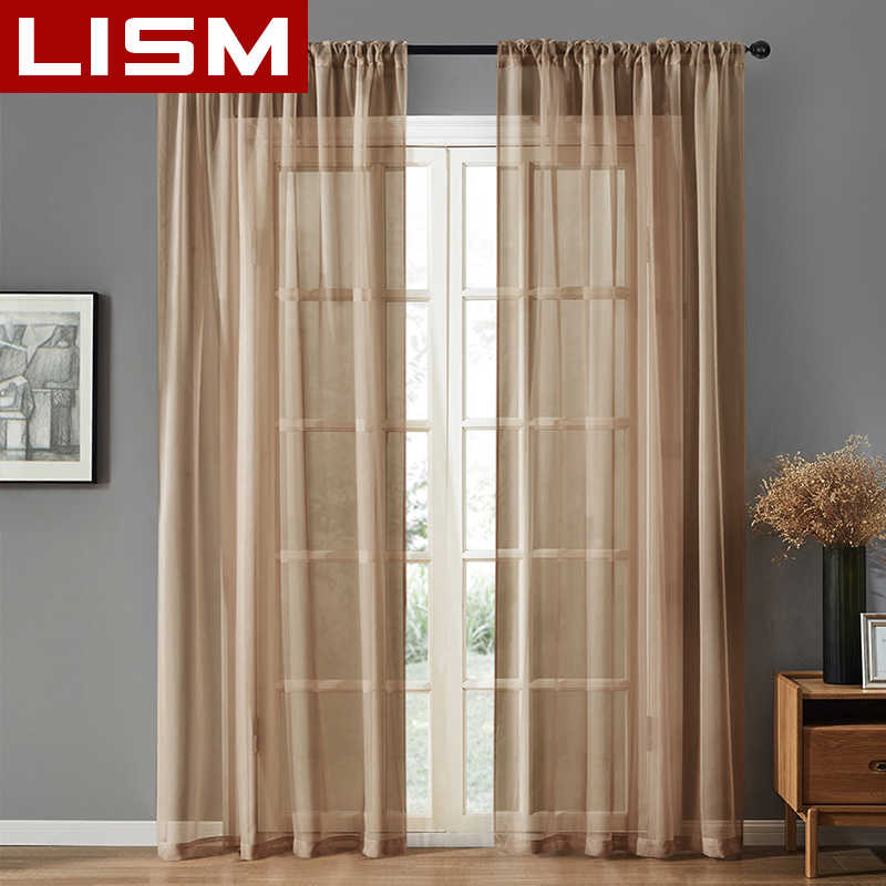 LISM Solid Tulle Window Curtains For Living Room Bedroom The Kitchen Modern Sheer Voile Organza Curtains Fabric Drapes Door