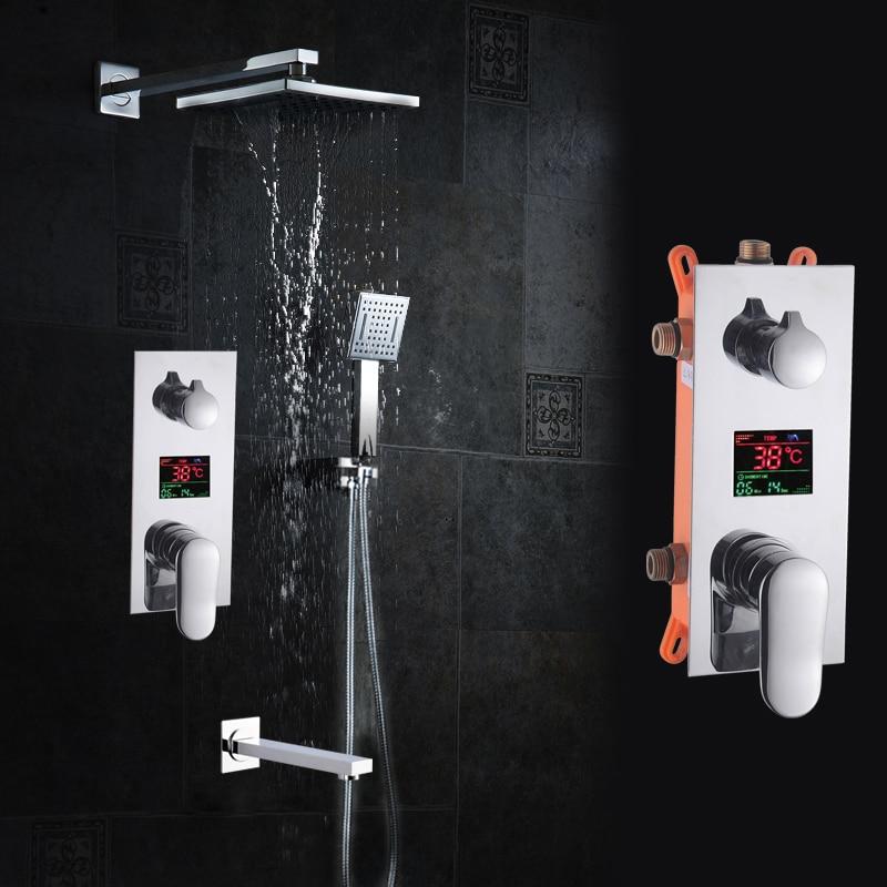 BAKALA Bagno Set Doccia 3 Funzioni Display Digitale A LED Miscelatore Doccia Incasso Miscelatore Doccia 10 Pollice Soffione Doccia Rainfall