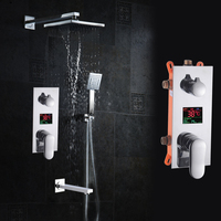 BAKALA Bathroom Shower Set 3 Functions LED Digital Display Shower Mixer Concealed Shower Faucet 10 Inch Rainfall Shower Head