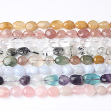 LanLi fashion natural Jewelry amorphous golden hair crystal stones beads 6x8mm 8x10mm DIY men and women bracelet necklace