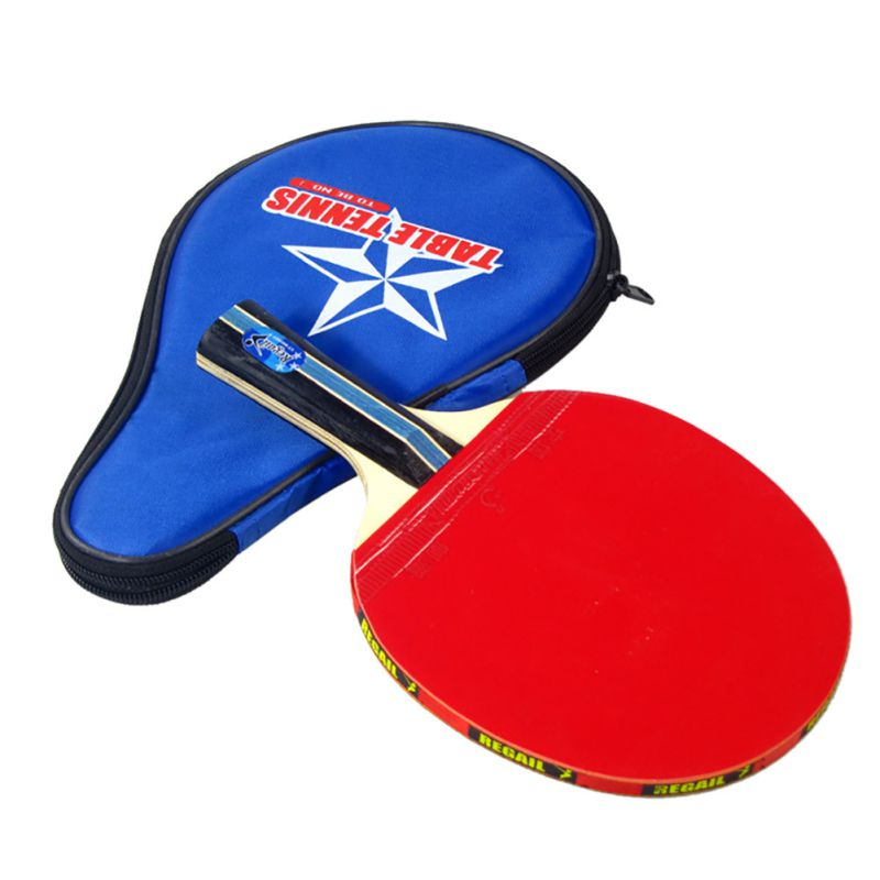 Long Handle Bag Pouch Red Indoor Table Tennis Accessory Shake-hand Table Tennis Racket Ping Pong Paddle + Waterproof
