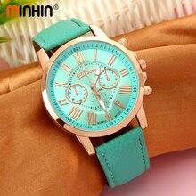 MINHIN Women Wrist Watches Top Brand Casual Geneva Leather Quartz Analog Reloj Luxury Bracelet Watches Good-looking Gift