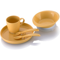 Baola 5pcs Kids Dinnerware Set With Silicone Ring Eco Friendly Corn Dishes Plate Suction Bowl Mug
