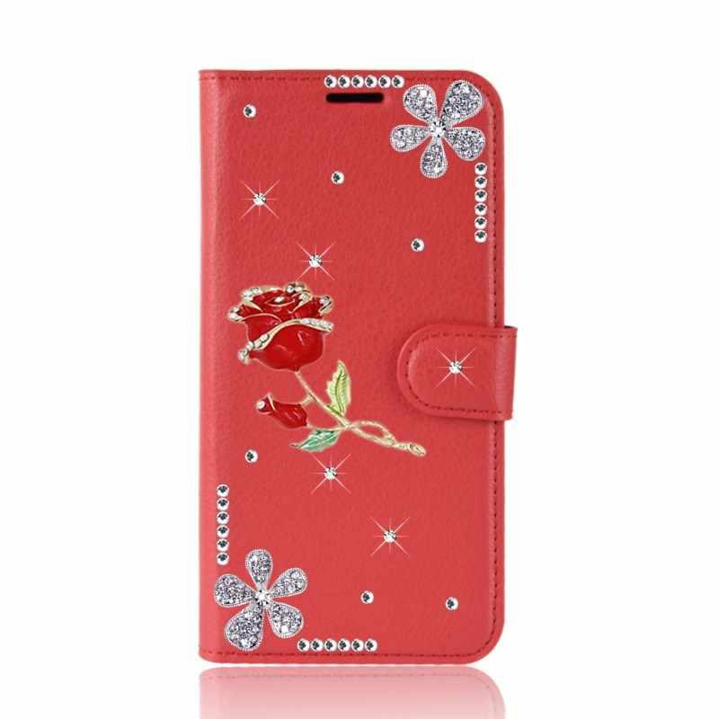 Hoa Hồng Lật Da Ốp Lưng Armour Case Dành Cho Samsung Galaxy Note 9 S8 S9 A50 J7 Neo J5 J3 2016 A7 A5 a3 2017 J4 J6 A6 Plus 2018 Ốp Điện Thoại