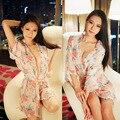 Сексуальные женщины цветочный печати белье халат ночная рубашка платье вуаль шифон пижамы халат прозрачный искушение леди ночное