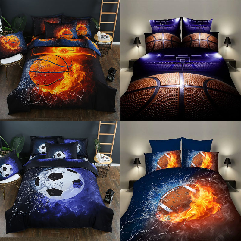 1 Set 3D Printing 2/3Pcs Sport Series Soft Duvet Pillow Cover Football Basketball Rugby Bedding Sets Bedclothes Boy Gift Textile