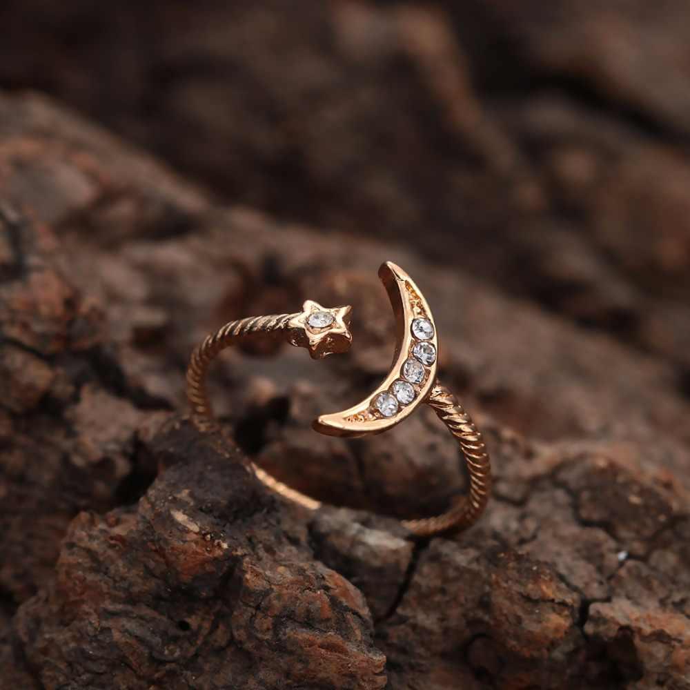 รูปร่างของฉันแฟชั่นดาว CZ Crescent ดวงจันทร์เปิดห่อแหวนโบฮีเมียนแรงบันดาลใจ Boho ผู้หญิงเครื่องประดับนิ้วกลางแหวน