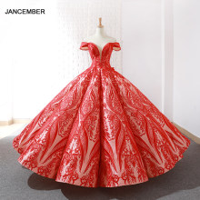 J66661 jancember rosa quinceanera vestidos red ball vestido fora do ombro querida pavimento length sweet puffy vestidos de vestidos de 15(China)