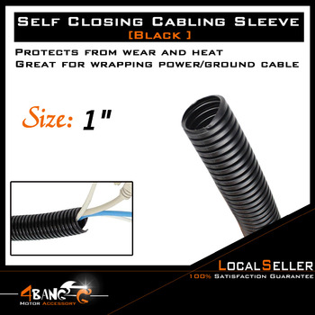 """1 """"cubierta de manguera de tubo de cableado de conducto dividido Flexible negro ventas de automóviles"""