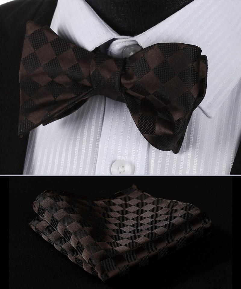 bc329z brown check 100 silk jacquard woven men butterfly self bow