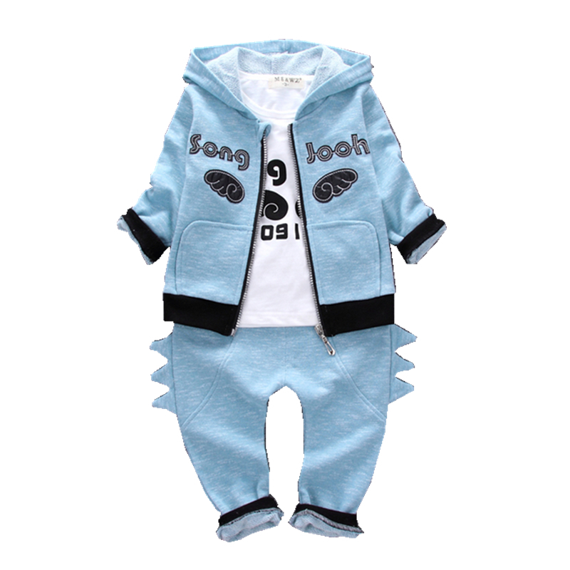 2018 Fashion Baby Boys Girls Clothing Suits Children Hooded Jacket T-shirt Pants 3 Pcs/sets Spring Autumn Kids Cotton Toddler 2017 spring autumn children girls set new brand fashion solid shirts cotton pants 2 pieces suits casual kids clothing sets hot