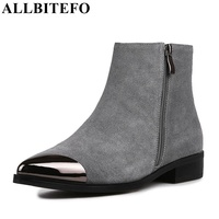 ALLBITEFO Size 34 43 Metal Toe Design Genuine Leather Short Women Boots Fashion Brand Comfortable Flat