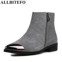 ALLBITEFO Size 34 43 Metal Toe Design Genuine Leather Short Women Boots Fashion Brand Comfortable Flat