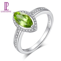 Lohaspie Real Diamond jewelry 100% Natural Marquise Green Peridot 14k White Gold Ring Fine Jewelry For Girl's Women's Gift