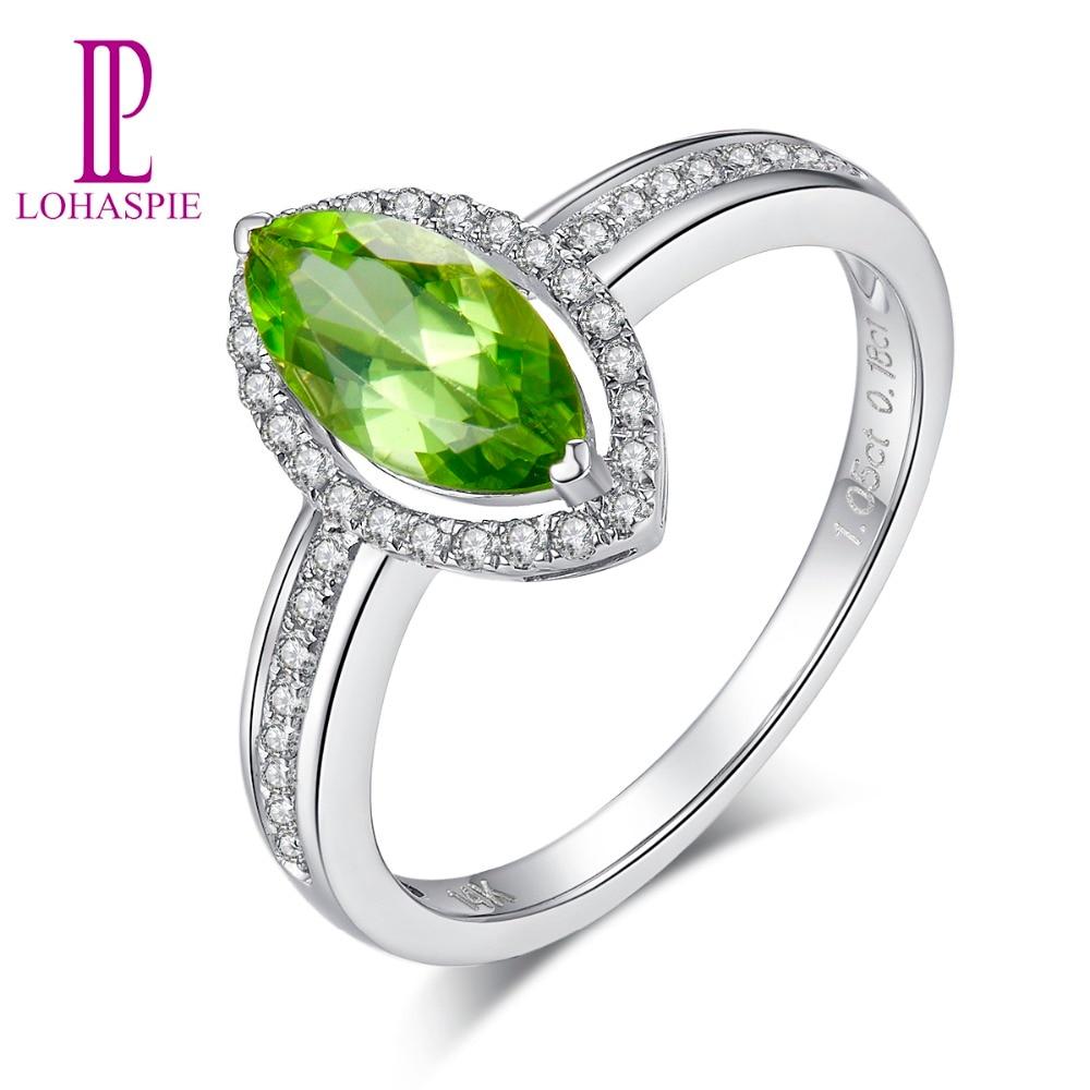 Lohaspie bijoux en vrai diamant 100% naturel Marquise vert péridot 14k bague en or blanc bijoux fins pour cadeau femme fille