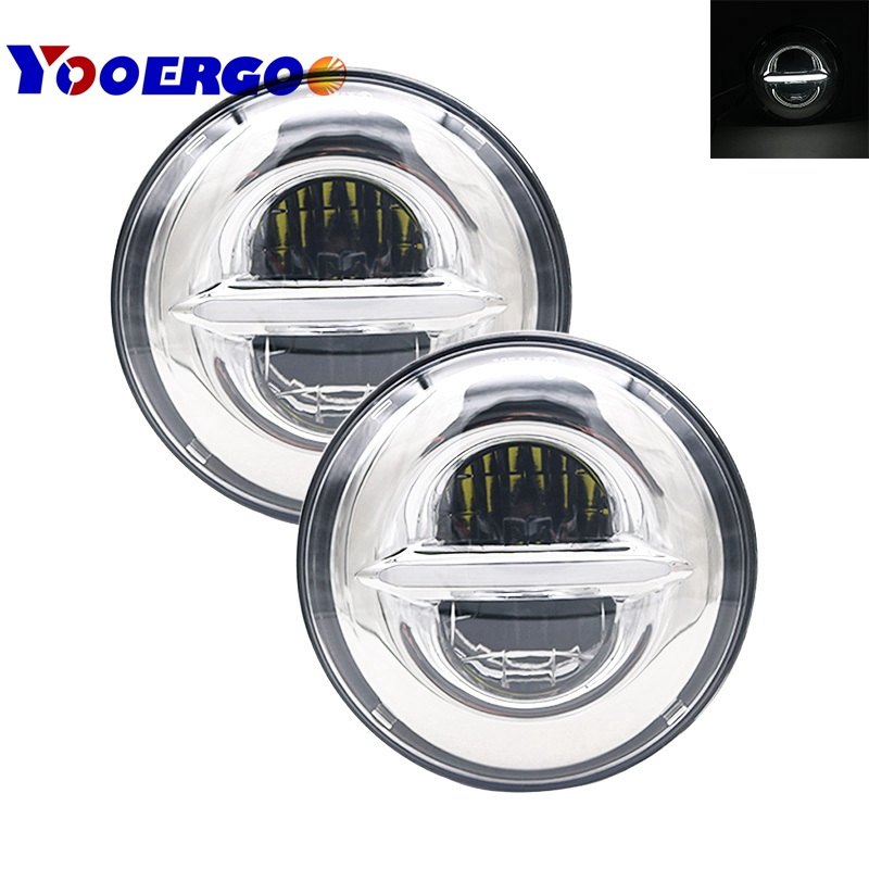 Pair 50W 7 LED H4 plug&play white halo Headlight lamp with DRL daymaker For Jeep Wrangler Lada Niva 4x4 Headlight JK TJ 7 inch round 50w 7 led headlight h4 led head lamp for harley motorcycle for jeep wrangler 4x4 with white amber halo hi low beam