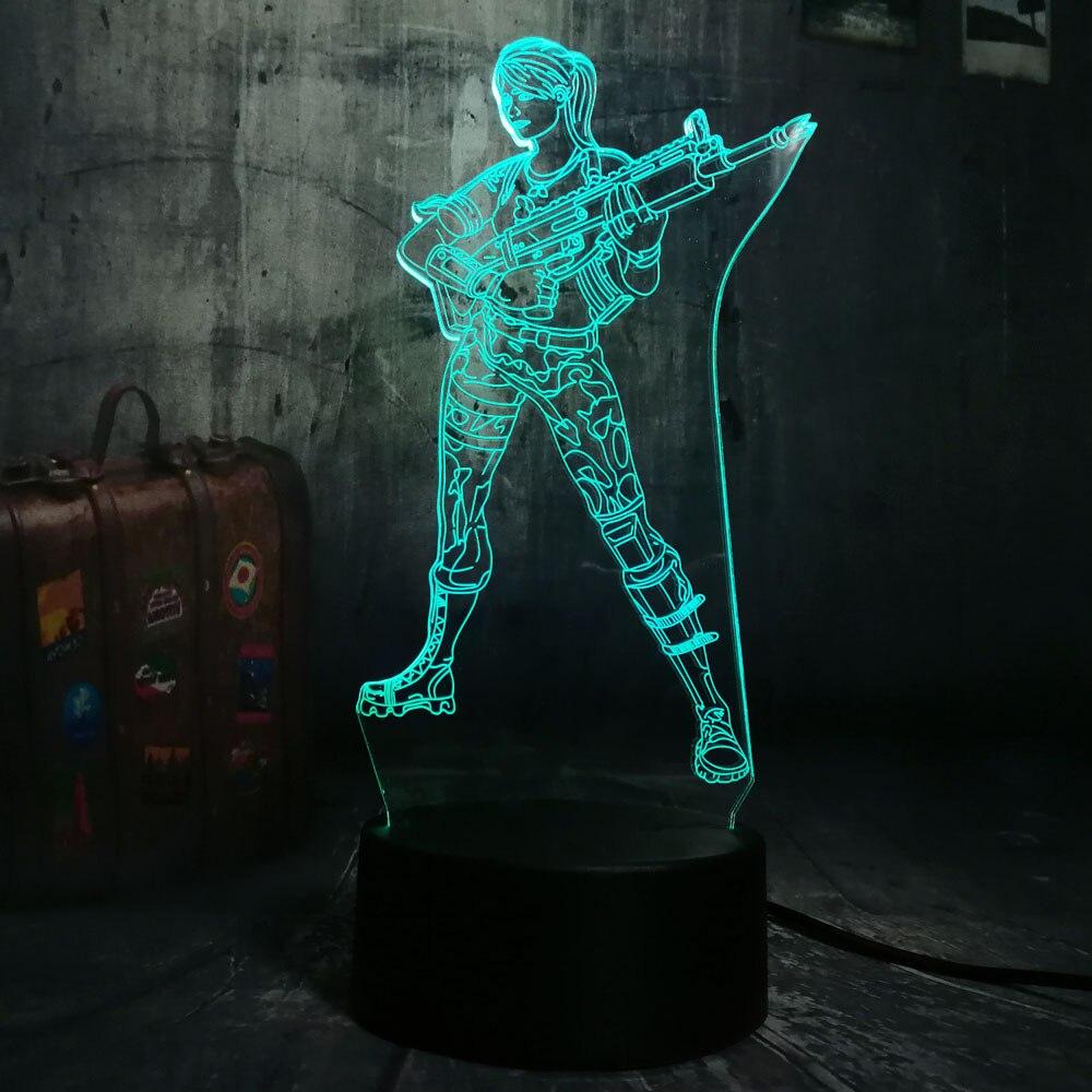Computer Games Battle Royale TPS Character LED Night Light Desk Lamp 7 Color Change Boys Kid Toy Home Decor Light Christmas Gift