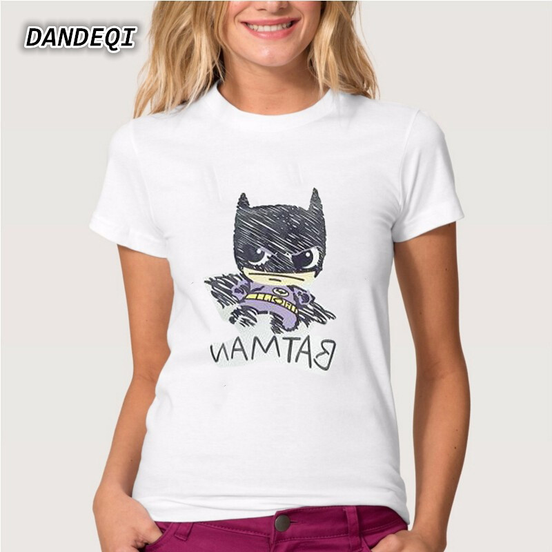 Harajuku New Women's T shirt Cartoon Batman Character Printed Short Sleeve Tshirts Girl Summer Tee Tops Clothing