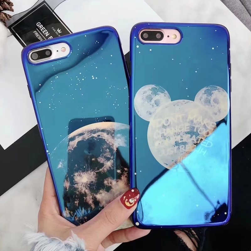 47f4e012b42212 Blue Light Electroplate Soft Phone Cover for iPhone X 6 6s 7 8 Moon Planet  Space