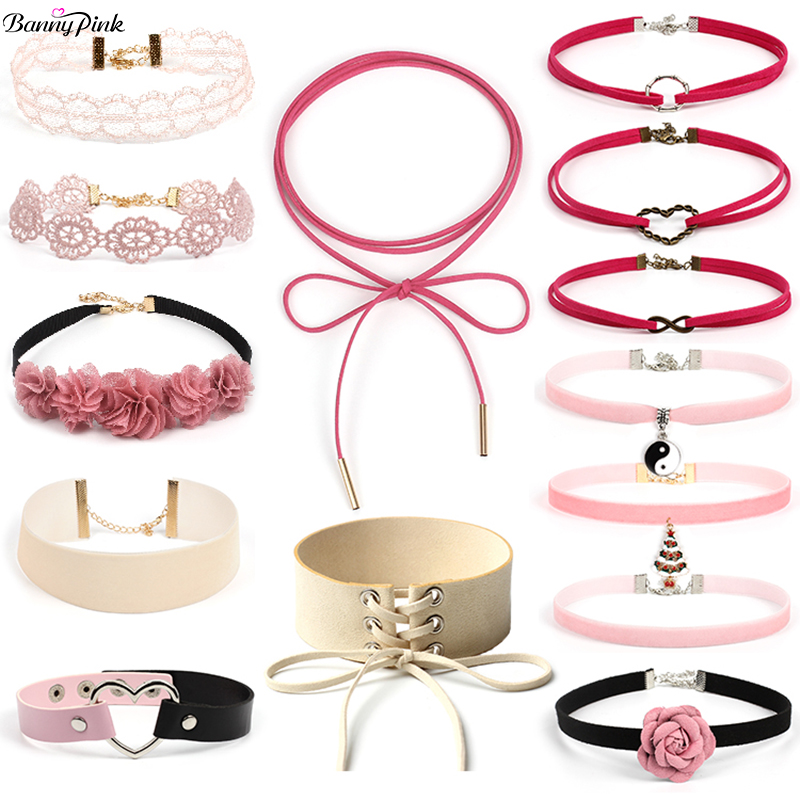 14 Pieces Sweet Pink Rope Chain Choker Collar Cute Flower Hes