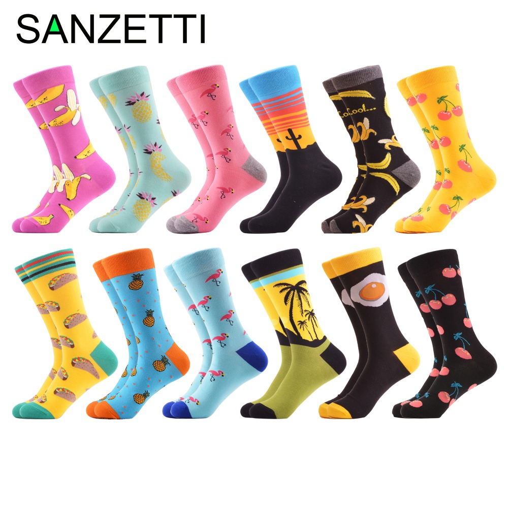 SANZETTI 12 pairs/lot Hot Sale Men's Combed Cotton   Socks   Colorful Pattern Funny Skateboard   Socks   Novelty Happy Wedding   Socks