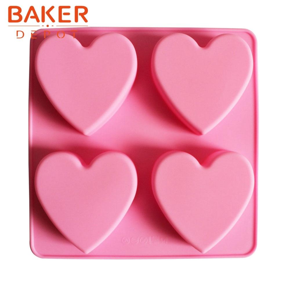 Kek buatan tangan biskuit DIY silikon kek acuan 4 cawan sabun jantung jelang SSCM-001-23